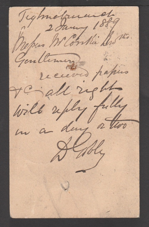 G.B. - Greenock & Ardrishaig Packet 1889 (Jan 3) - Image 2 of 2