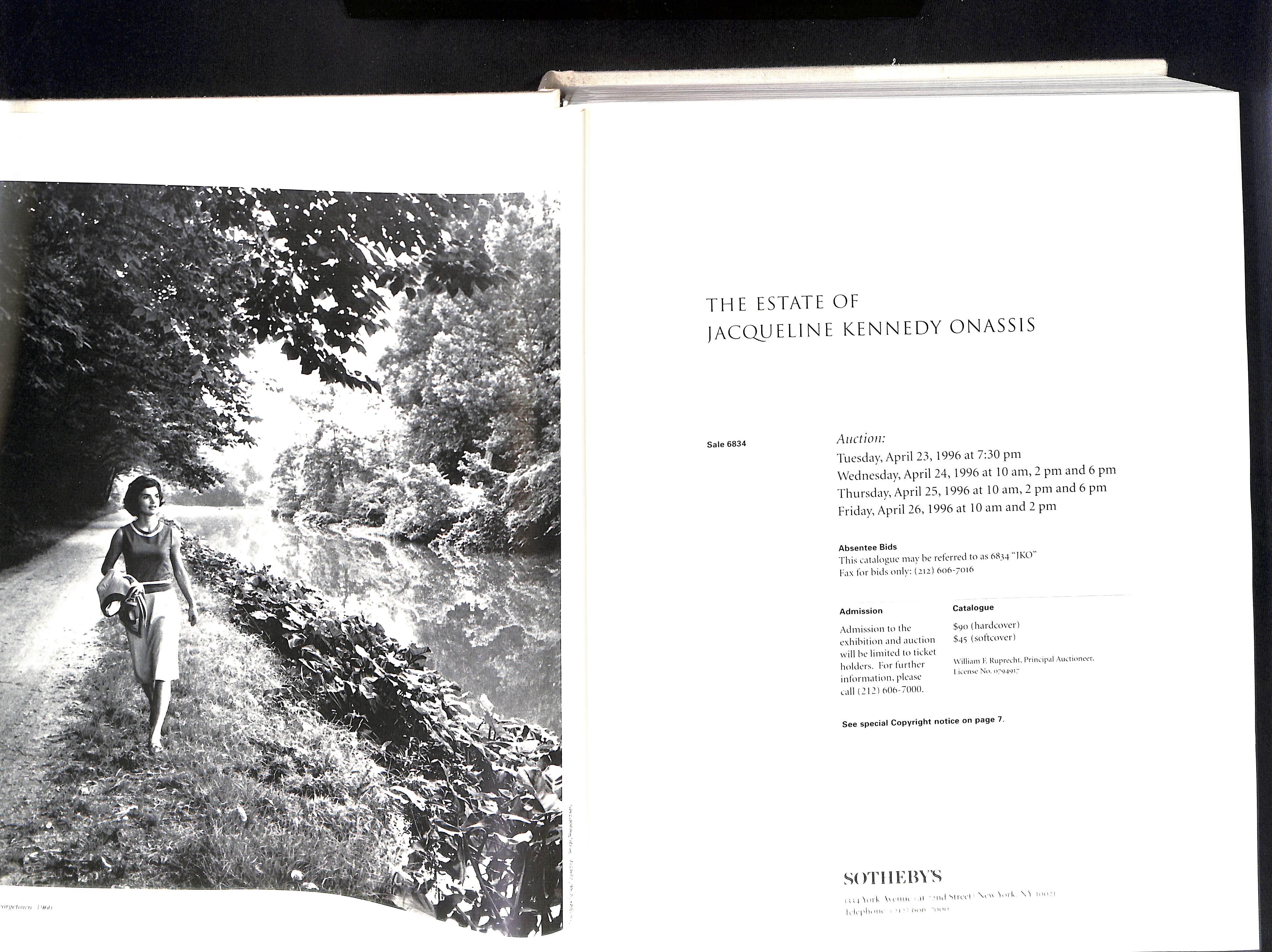 The Estate of Jacqueline Kennedy Onassis April 23-26 1996 Sothebys Hardback pages 584