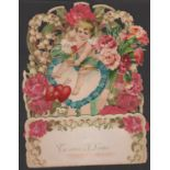 Large Victorian Valentine's Card with Flowers and Cupid shooting his arrow