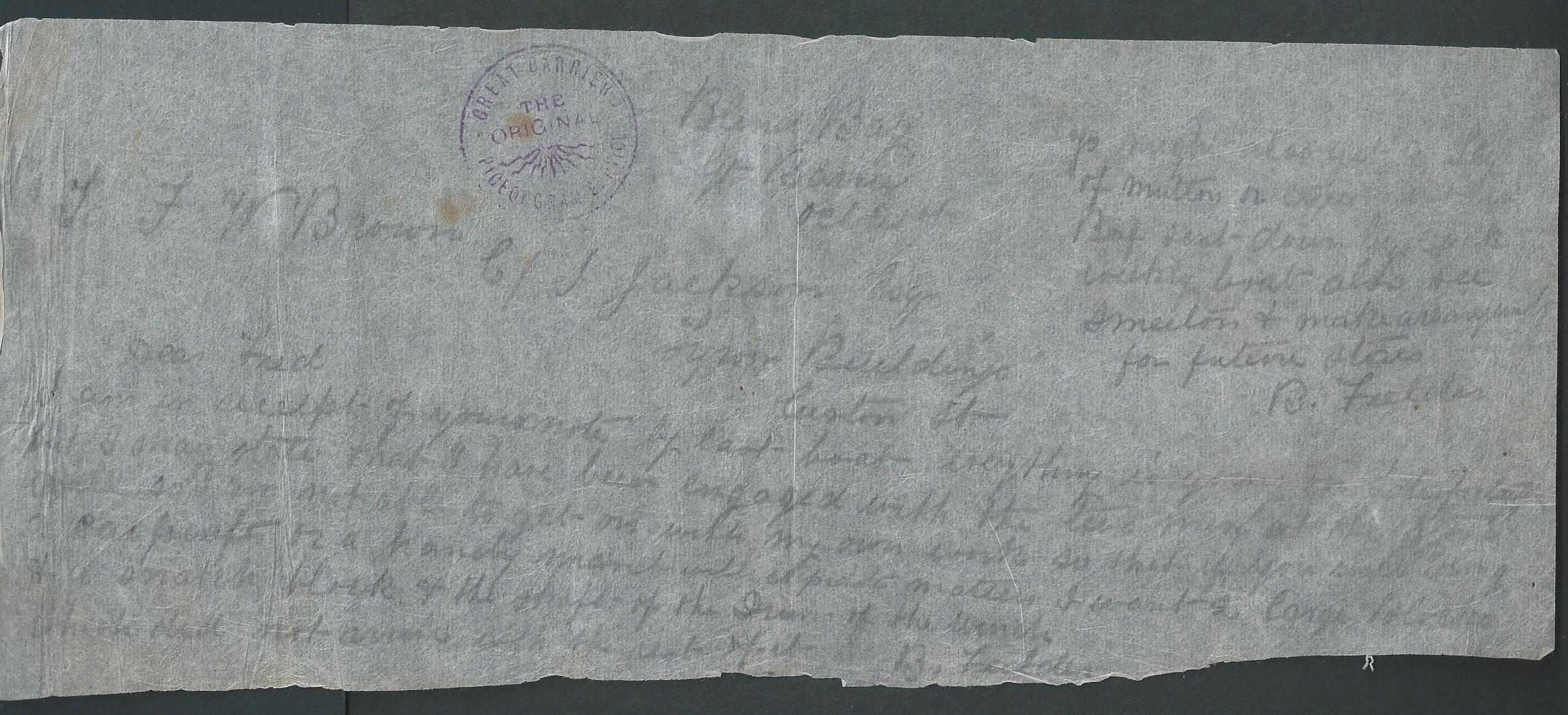 New Zealand c.1899 Great Barrier Island Pigeongram staples flimsy message