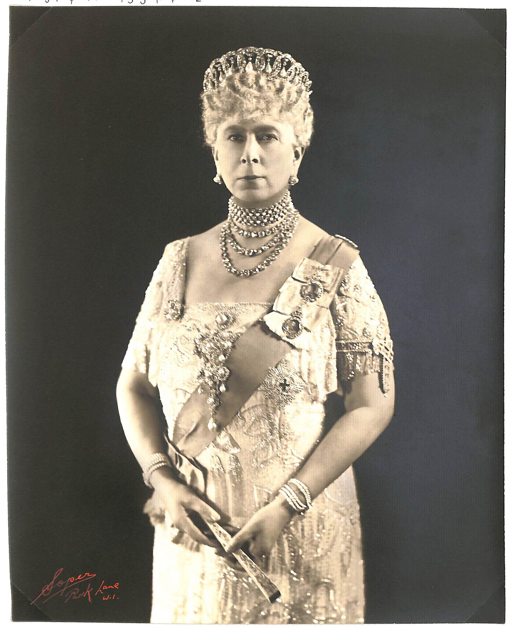 Royalty Queen Mary Original Signed Soper Studio Photograph. Queen Mary In Vladimir Tiara.