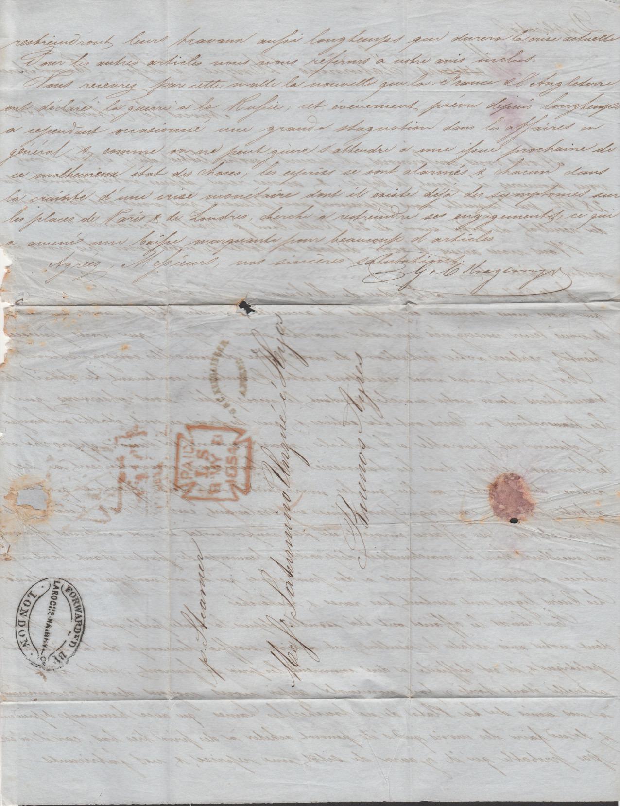 G.B. - London / Forwarding Agents 1854 - Image 4 of 4