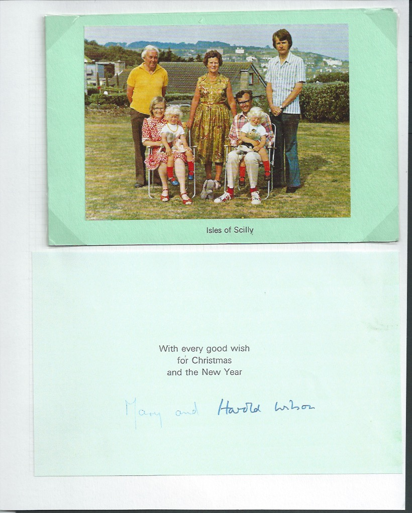 Christmas Card Harold Wilson Prime Minister Isles Of Scilly Fine Undated Christmas Card But Circa 1