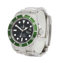 Rolex Submariner Date 16610LV Men Stainless Steel Kermit Watch