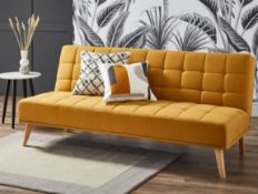 (R6H) Household. 1 X Clik Clak Kelly Sofa Bed Ochre. Wooden Frame With Solid Birchwood Legs. 100% P