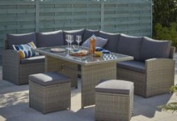 (R6C) Garden Furniture. 1 X Matara 7 Seater Corner Sofa Dining Set. RRP £700