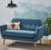 (R6N) Household. 1 X Scandi Savannah Sofa Teal. 2 Seater Sofa. Wooden Frame With Solid Beechwood Le