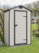 (R10) Garden . 1 X Keter Manor 4 X 3 Maintenance Free Shed (W129 X D103 X H196cm) RRP £240