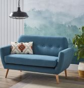 (R6F) Household. 1 X Scandi Savannah Sofa Teal. 2 Seater Sofa. Wooden Frame With Birchwood Legs. (H