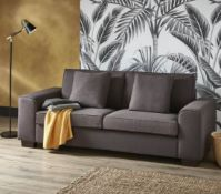 (R6F) Household. 1 X Lola Sofa Charcoal. Wooden Frame With Solid Beechwood Legs. H80 X W215 X D88cm