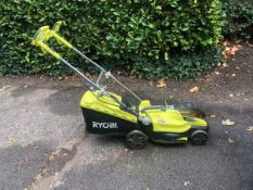 (R9B) 1 X Ryobi One+ 18V Cordless Lawn Mower RLM18X36250. Incomplete. Missing Battery & Grass Box.