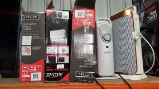 (R12A) Heating. 5 Items. 2 X Stylec Convection Heater 2000W, 1 X Mistral Convection Heater 2000W, 1
