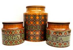 Vintage Hornsea Bronte Storage Jars Sugar Flower & Tea
