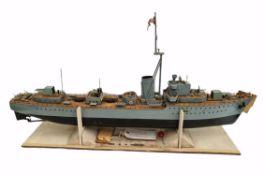 Vintage Wooden Model Boat Royal Navy HMS Jutland D62 Destroyer Battery Powered
