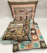 Vintage 3 x Embroidered & Quilted Cushions Includes Owls