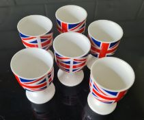 Vintage 6 Egg Cups With Union Jack Flags on Them