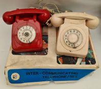 Vintage 2 BT Telephones 1 Red 1 Cream & Toy Telephone Set
