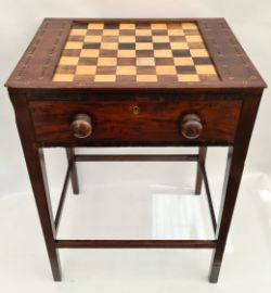 Antique Games Table Veneer Chess Board Inlaid Brass Peg Holes