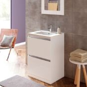 New (E31) Carino 600mm 2 Drawer Floor Standing Vanity Unit White Gloss. RRP £415.00. Comes Com...