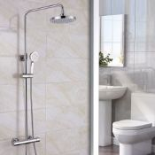 New (E58) Synergy Round Thermostatic Bar Mixer Shower With Shower Kit And Fixed Head - Chrome. ...