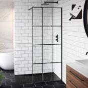 New (E13) 1200mm - 8mm Designer Black Shoji Crittall Style Shower Screen. RRP £499.99. Easycle...