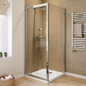 New (E54) 900x800mm - 6mm - Elements Pivot Door Shower Enclosure. RRP £419.99. 6mm Safety Glas...