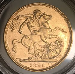 1899P Queen Victoria Gold Sovereign Rare Date Low Mintage (690,992)