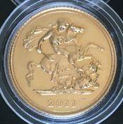 2011 UK Elizabeth II Gold Half Sovereign in Capsule