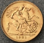 1931 SA Gold Sovereign George V Pretoria Mint in Capsule High Grade