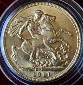 UK 1911 George V Gold Sovereign In Capsule High Grade