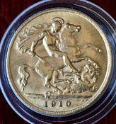UK 1910 Edward VII Gold Half Sovereign In Capsule