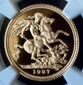 UK 1997 Gold Proof Half Sovereign NGC PF 69 ULTRA CAMEO in Slab Capsule