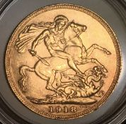 1918 P Gold Sovereign George V Perth Mint in Capsule High Grade