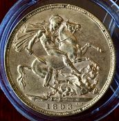 UK 1893 Victoria Veiled Head Gold Sovereign In Capsule