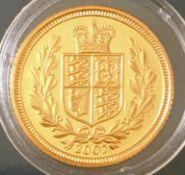 2002 Elizabeth II Shield Back UK Gold Half Sovereign in Capsule