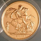 UK 2014 Elizabeth II 22k Gold Sovereign in Capsule