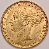 1875 S Victoria Young Head Gold Sovereign George Slaying The Dragon High Grade