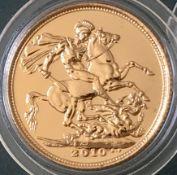 UK 2010 Elizabeth II 22k Uncirculated Gold Sovereign in Capsule
