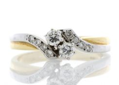 18k Two Stone Twist With Stone Set Shoulders Diamond Ring 0.24 Carats
