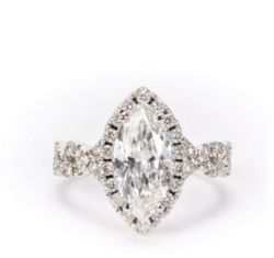 18k White Gold Marquise Halo Diamond Ring 2.02 Carats