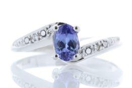 9k White Gold Diamond And Tanzanite Ring