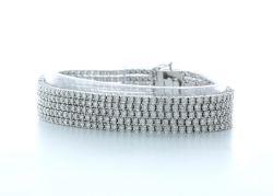 18k White Gold Five Row Diamond Bracelet 11.73 Carats