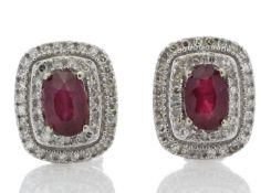 9k White Gold Oval Ruby and Diamond Earrings