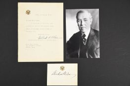 Woodrow Wilson (1856 - 1924) Original Signature on Headed Card.