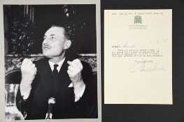 Enoch Powell (1912 - 1998) Original Signature on letter dated 1975.
