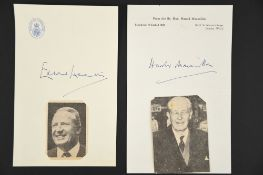 Edward Heath (1916 - 2005) Harold Macmillan (1894 - 1986) Original Signatures on headed paper.