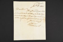 William IV (1765 - 1837) Handwritten letter dated 1821.