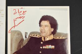 Colonel Gadaffi (1942 - 2011) Original Signed photograph.