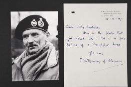 Montgomery of Alamein. (1887 - 1976) Original Signed Letter dated 1947.