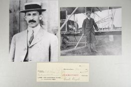 Orville Wright (1871 - 1948) Signed Cheque dated 1921